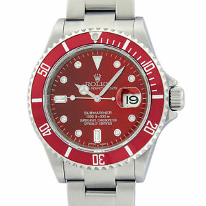 Rolex Mens Stainless Steel Oyster Submariner Watch with Red Diamond Dial 16610