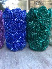 1 X Custom Glitter Pillar Handmade Rose Candle With Essential Oil Fragrances