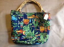 NEW! Tropical Fish Bag, bamboo handles, lined, pockets, medium size, handmade