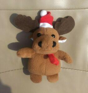 Christmas Decoration Brown Deer Red Nose and Hat Elk Nature Animal Decor