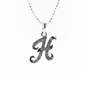 Clear Crystal on Silver Plated Italic Initial Letter Necklace MORE INITIALS
