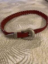 Al Beres Vintage German Silver Beaded Belt Red Leather Fine Bead Work