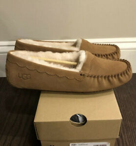 New UGG Women's Size 11 Scalloped Moccasin Slippers CHE Chestnut