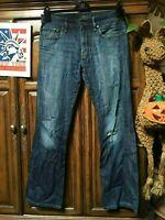 Lucky Brand 221 original Jeans Distressed Faded Hippie Boho Hobo Denim 32x32