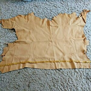 """Cow or Deer Hide Leather Suede Full Piece 31"""" x 42"""" Weight is 2 Pounds Tan Color"""