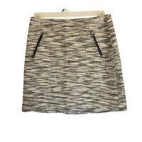 Loft skirt Size 8 Ann taylor White Black Lined Pockets Zipper Back Zipper Mini