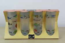 More details for 4x dartington designs fishing pattern highball frosted glasses unused & boxed