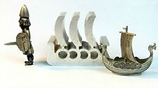METAL VIKING SHIPS & VIKING FIGURINE VINTAGE METAL and PEWTER SOUVENIRS NORWAY