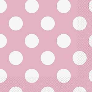 40Pcs Pink Polka Dot Paper Napkins Party Birthday Event Tableware