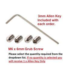6mm HEX HEAD GRUB SCREW FOR DOOR HANDLE KNOBS SPINDLE & FREE ALLEN KEY