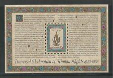 United Nations, New York # 545 Mnh Human Rights, 40Th Anniversary Souvenir Sheet