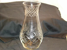 """Retro Cut glass and etched vase with Diamond pattern 9.1/2"""" (24cm) Tall"""