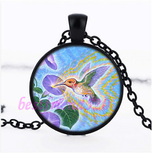 Hummingbird & Flower Pendant Black Necklace for man woman Jewelry#D28