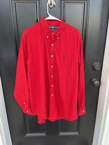 Ralph Lauren Men XL Classic Fit Red Flannel Long Sleeve Button Up Shirt