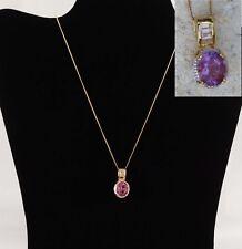 "G. Perez Purple Fluorite, Topaz Necklace 14K Gold/Silver 20"" Chain 4.86 cts (GP)"