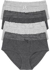 4 Damen Slips Unterhosen grau Panty Spitze  44 46 48 50 52 54 L XL 2XL neu 536