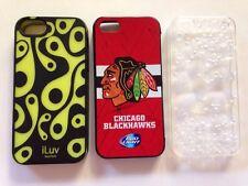 iphone 5 case lot of 3 i phone 5 5s cases ( chicago blackhawks, bubbles, iluv )