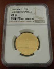 Malta 1973 Gold 50 Pounds NGC MS62 Auberge De Castille