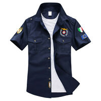 Mens Short Sleeves Shirts Army Military Air Force Cotton Slim Embroidered Shirts