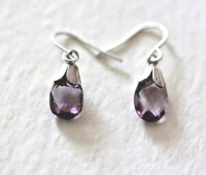 Lovely delicate Solid Sterling Silver earrings with Amethyst Briolette drops