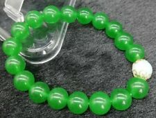 "Fashionable 8mm Green Jade Ball Jewelry & 8mm Opal Ball Elastic Bracelet 7.5"""