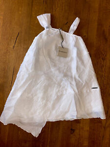 Burberry Girls Dress 3-5 Years White Cotton New With Tags