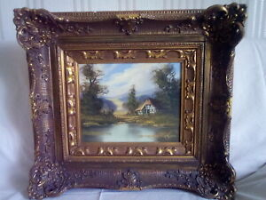 Gemälde 53 / Landschaft / mit dickem Rahmen / signiert / Größe 55,5 cm x 50 cm