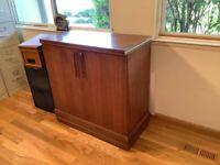 Henry P. Glass design 1950's Danish Modern Glass Bar Cart Cabinet very good cond