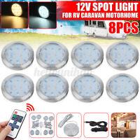 8 x 12V LED Blanc Plafonnier Éclairage intérieur Ampoule Télécommande caravane