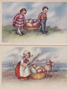 Augurali: 6 cartoline  Pasquali serie  751 (bambini, pulcini e uova)