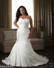 White/ivory Mermaid Beading Wedding Dress Bridal Gown Custom all Plus Size 18-28