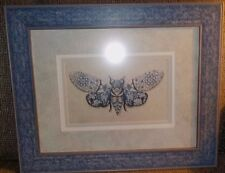 """Delft blue """"Fly Away"""" by Jennette Brice picture, 18 3/4"""" x 23 1/4"""", triple mats"""