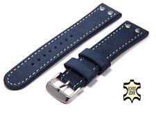 Uhrenarmband 24 mm ECHT WASSERBÜFFEL Marine Blau FLIEGER Herren Uhrband