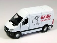 Personalised gift, die cast model toy white mercedes sprinter van, 1:43, 10.5cm