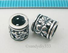 2x BALI OXIDIZED STERLING SILVER FLOWER TUBE CORD SPACER BEADS 6mm 6.5mm N100