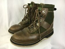 Orvis Mens Hunting Fishing Boots Shoes Leather Brown Green Size 10