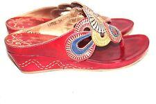 Womens L'artiste Spring Step Lotus Red Circles Wedge Sandals Sz 7.5 (38)