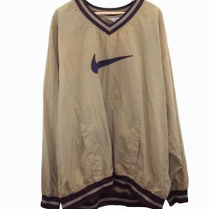 K249 Vintage Nike Swoosh Nylon Sweatshirt Pullover Brown Men's Size 3XL