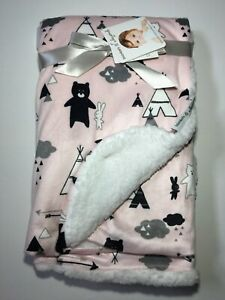 Blankets & Beyond Baby Pink Camping Bears Sherpa Micro Mink Blanket