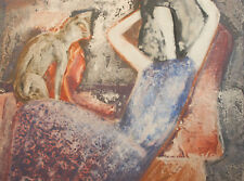 1991 Abstract figures portrait painted print signed