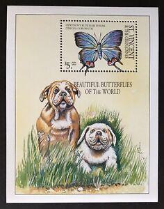 ST VINCENT BUTTERFLY STAMPS SOUVENIR SHEET 01' MNH INSECT BUTTERFLIES BOXER DOG