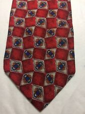 JOS A BANK MENS TIE 4 X 60 RED WITH BLUE AND RUST AND GRAY