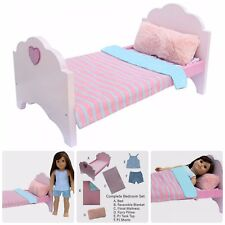 Doll Complete Furniture Bed 6 Piece Set American Girl Bedding Mattress Set New