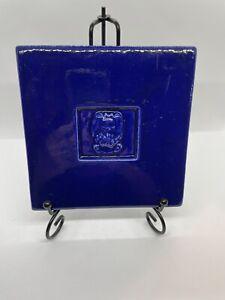 Cobalt Blue Ceramic Tile Trivet with Bunny by Treasure Craft