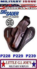 BLACK Military Issue Adirondack Leather Holster M11 9mm P228 P229 P239 RH Glock