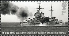 WWII D-Day HMS WARSPITE Shelling German Guns at Sword Beach Warship Stamp (2019)
