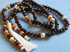COLLIER ou BRACELET mala zen yoga avec pompon blanc et perle yin yang bronze