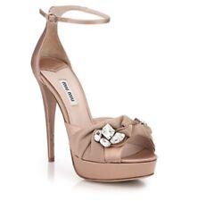Miu Miu Jewel Embellished Crystal Open Toe Satin Heels 38.5