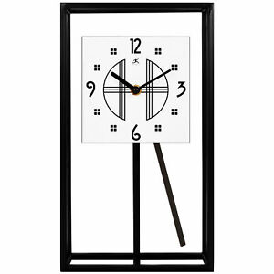 Infinity Instruments 20090BK-933 7.25 x 13 Inch Modern Pendulum Tabletop Clock