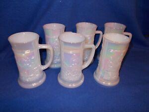 "Six (6) Federal Glass white iridescent steins, 6"""